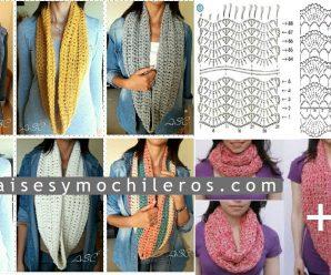 Como hacer bufandas a Crochet + Patrones