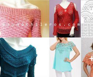 Como hacer PULLOVERS a crochet + Patrones en todas las tallas