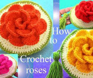 Como Tejer Monedero con Flor 3D a Crochet PASO A PASO