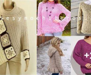 Como hacer JERSEY a Crochet todas las Tallas Paso a paso +PATRONES