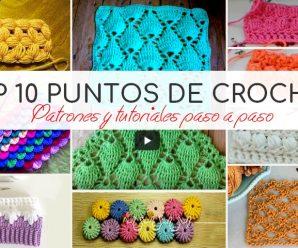 TOP 10 MEJORES PUNTOS DE CROCHET PASO A PASO + PATRONES