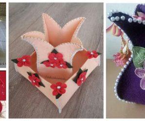 9 Ideas para hacer bolsitas tulipan de fieltro con moldes TUTORIAL