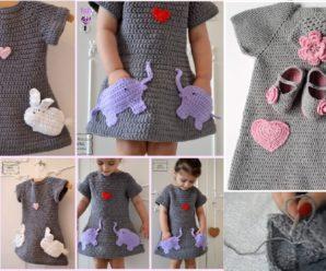 Como tejer vestido de niña con conejitos y mas + PATRON GRATIS