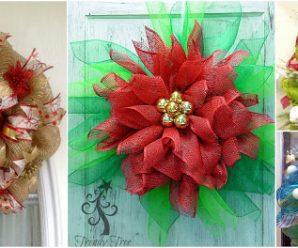 10 Adornos navideños con mallas para colgar en la puerta