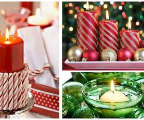 Centros de mesa- Adornos decorativos con velas para navidad