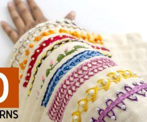 10 diseños de bordes de bordado a mano: ideas de costura para el vestido