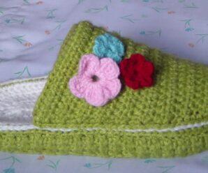 PANTUFLAS, Babuchas,TEJIDAS a Crochet para el Frios excelente