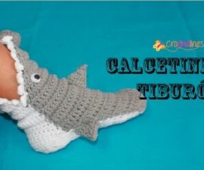 Como tejer Calcetines de Tiburon a Crochet INVIERNO