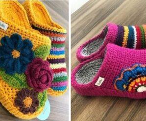 Pantuflas a Crochet Excelente para el Frio