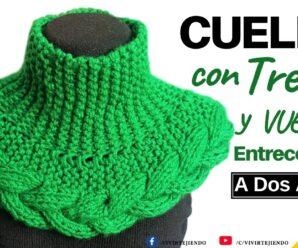 Cuello Bufanda a Dos Agujas con TRENZA 3D y Vueltas Entrecortadas