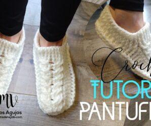Aprende a Tejer PANTUFLAS Con Punto Trenza a Crochet
