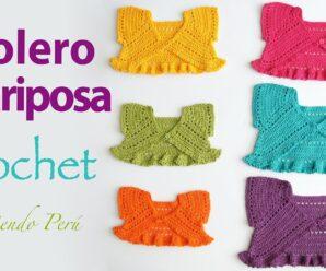 Bolero mariposa o torerita para bebitas y niñas tejido a crochet