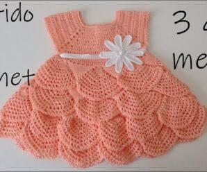 Hermoso vestido para bebe a ganchillo -olanes crochet 3 a 6 meses