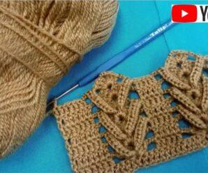 Puntada fácil con hondas en relieve a crochet