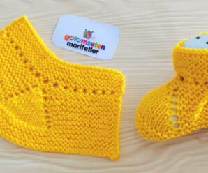 Nuevo diseño de botines de bebé de punto muy fácil