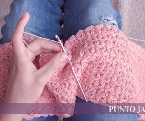 Aprende a tejer Bello Punto Jazmín para mantas a crochet