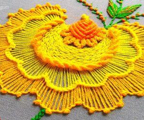 CURSO GRATIS DE BORDADO: Flor amarilla principiantes