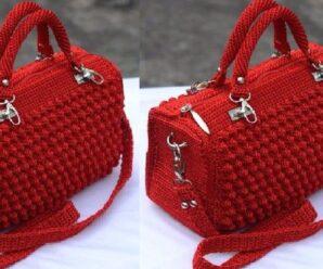 Bolso a Crochet Punto 3D en relieve tejido con ganchillo fácil
