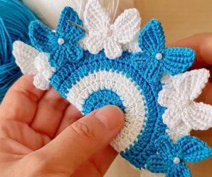 Portavasos Motivo Mariposas a Crochet Paso a Paso